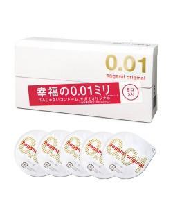 """Самые тонкие презервативы в мире Sagami Original """"001"""" 5 шт."""