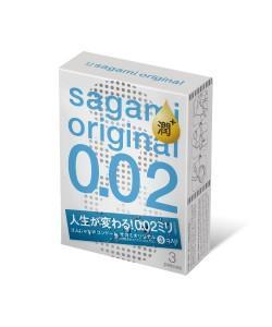 Полиуретановые презервативы Sagami Original 002 Extra LUB  3 шт.