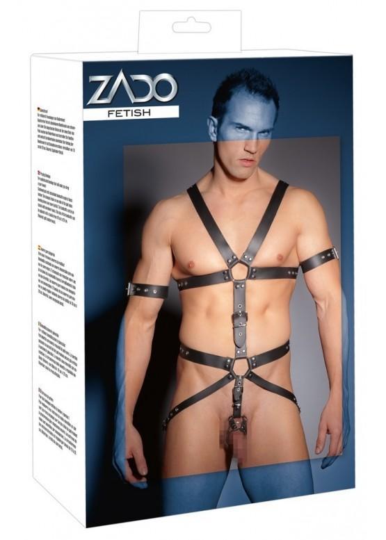 Мужская сбруя из натуральной кожи с кольцами для пениса ZADO L/XL