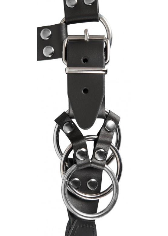Кожаные стринги с анальной втулкой и кольцами для пениса ZADO 20102401181