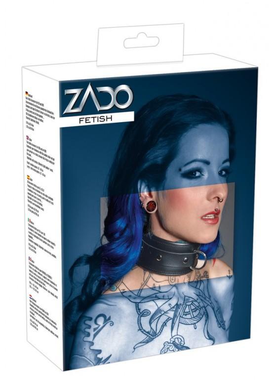 Кожаный ошейник ZADO L - XL Черный