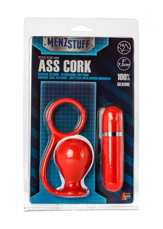 Анальная вибровтулка с кольцом MENZSTUFF ASS CORK WIDE RED 20912