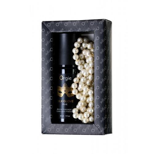 Комплект для эротического массажа Orgie Pear Lust Massage (массажный гель + жемчужное ожерелье) 30 мл