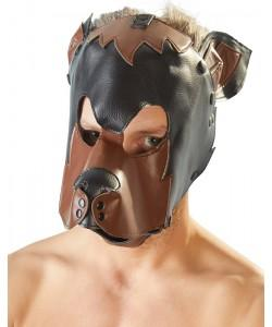 """Маска на голову """"СОБАКА"""" черно-коричневая  Fetish"""