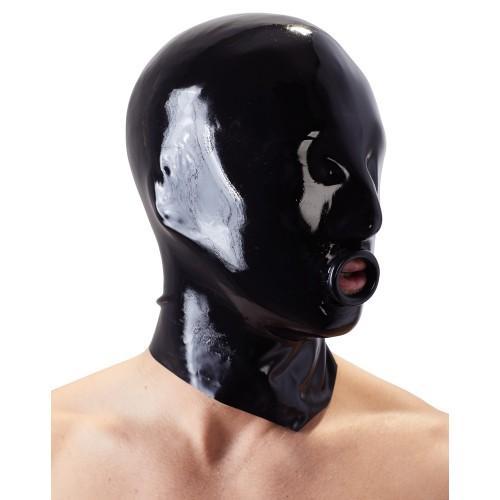 LATE X Маска на голову латексная черная