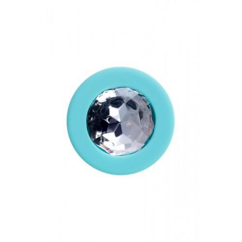 Мятная анальная втулка Brilliant с прозрачным кристаллом - 8 х 3 см