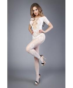 Белый комбинезон c короткими рукавами и имитацией шнуровки на груди 4502  белый