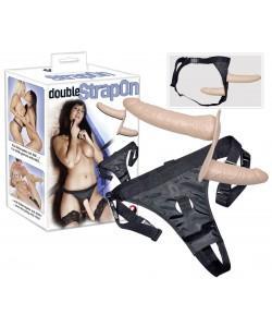 "Двойной страпон на трусиках ""Double Dong Strap On"" 19 х 4,6 см"