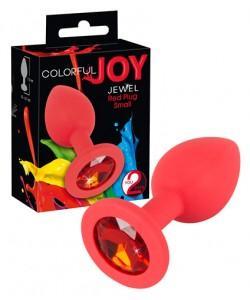Анальная втулка с красным кристаллом Colorful Joy