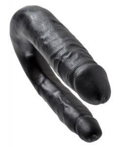 Чёрный двусторонний фаллоимитатор U-Shaped Small Double Trouble - 33,5 см.