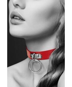 Красный узкий чокер с кольцом  Bijoux Pour Toi