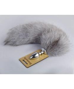 Серебристая анальная пробка с натуральным лисьим хвостом серый 8040