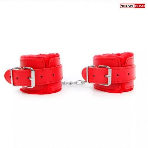 """Наручники с мехом """"Notabu"""" NTB-80565 Красный"""
