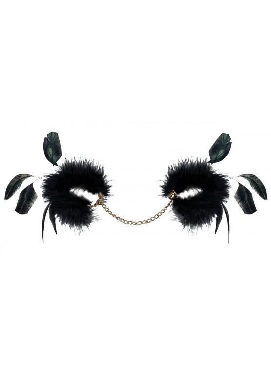 Чёрные пуховые наручники Obsessive