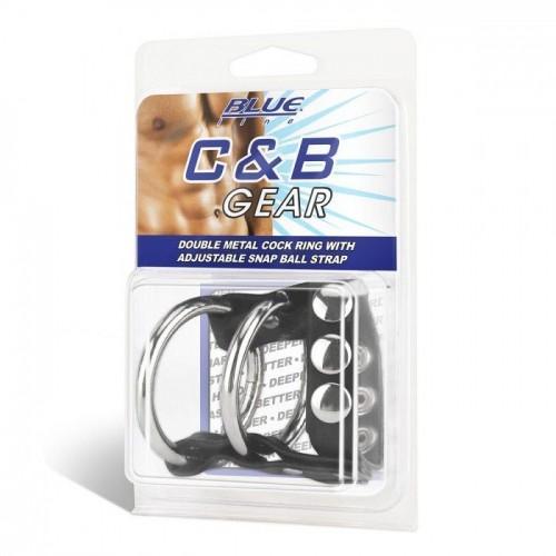 Двойное металлическое кольцо на пенис с регулируемым ремешком BlueLine