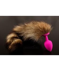 Розовая силиконовая анальная пробка с хвостом енота Пикантные Штучки