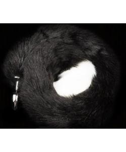 Серебристая анальная пробка с черным хвостом Пикантные Штучки