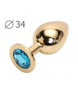 """Металлическая анальная пробка """"Jewelry Plug"""" Medium Gold 8,2 х 3,4 см"""