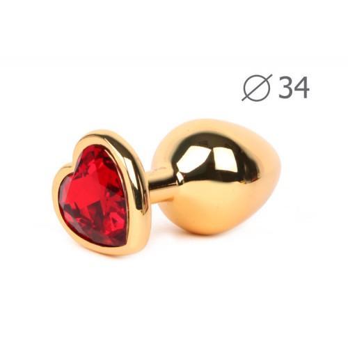 "Металлическая анальная пробка ""Anal Jewelry Heart"" Gold Medium 8 х 3,4 см"
