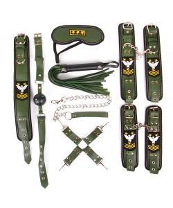 БДСМ-НАБОР (наручники, оковы, ошейник с поводком, кляп, маска, плеть, фиксатор) NTB-80481