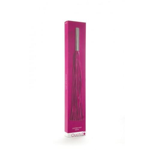 Розовая плётка Leather Whip Metal Long