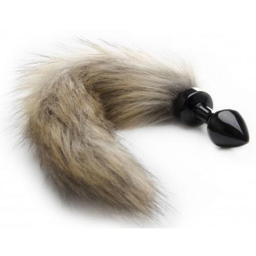 Черная маленькая анальная пробка с хвостиком Fox Tail Buttplug