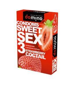 ОРАЛЬНЫЕ ПРЕЗЕРВАТИВЫ DOMINO SWEET SEX STRAWBERRY COCTAIL 3 шт.