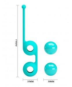 ШАРИКИ ВАГИНАЛЬНЫЕ BAILE D 34 мм, 93г, цвет бирюзовый арт. BI-014493-1