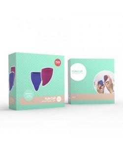 Набор менструальных чаш Fun Factory Explore Kit, 2 шт ежевичный/синий