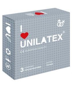 ПРЕЗЕРВАТИВЫ UNILATEX DOTTED с точечной поверхностью, 3 шт., арт. 3017