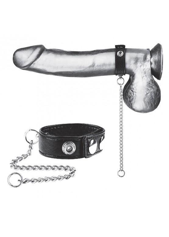 Кольцо на пенис из экокожи с поводком из металла