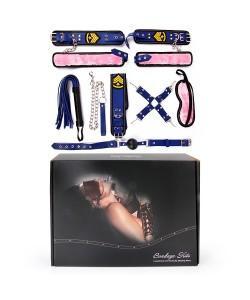 НАБОР (наручники, оковы, ошейник с поводком, кляп, маска, плеть, фиксатор) арт. NTB-80480