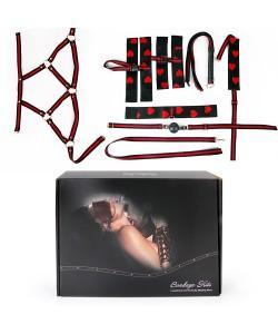 НАБОР (наручники, оковы, ошейник с поводком, кляп, маска, плеть, сбруя) арт. NTB-80473