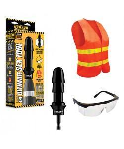 Комплект игрушек для секс-дрели DRILLDO(бит, очки, жилетка)