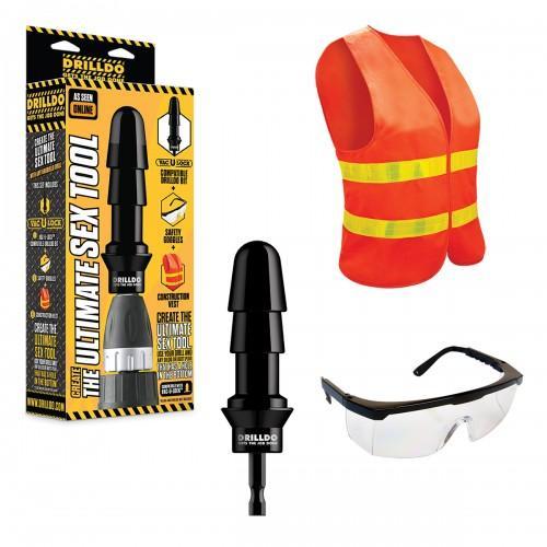 Комплект игрушек для секс-дрели DRILLDO(бит, очки, жилетка) DD-001