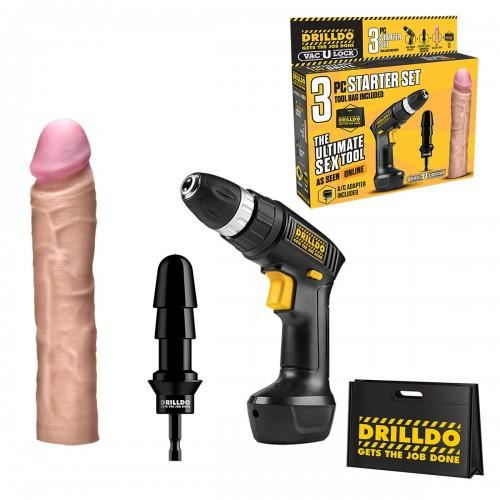 Набор секс-игрушек DRILLDO STARTER SET с реалистичным фаллоимитатором, 4 предмета DDS-001
