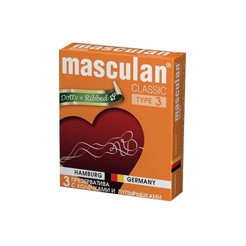 "Презервативы Masculan ""Dotty + Ribbed"" 3 шт."