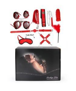 НАБОР (наручники, оковы, щекоталка, ошейник с поводком, кляп, маска, плеть, фиксатор, верёвка, зажимы для сосков) арт. NTB-80487