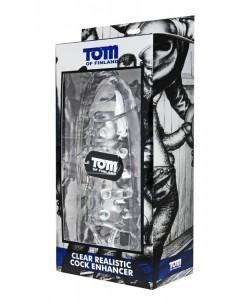 Насадка на член с кольцом для мошонки «Clear Realistic Cock Enhancer» Tom of Finland