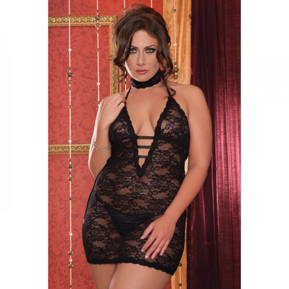Ажурное платье черное с глубоким декольте STM-9217XBLK