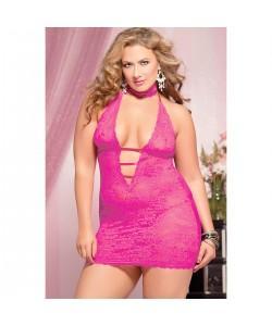 Ажурное розовое платье с глубоким декольте STM-9217XPPNK