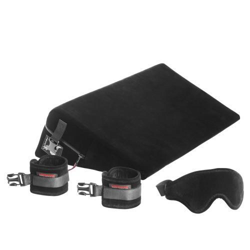 Liberator Retail Black Label Wedge Подушка для любви малая с креплениями+смазка, черная микрофибра