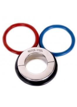 Серебристая утяжка на мошонку с 3 кольцами в комплекте Kiotos Steel Ball Stretcher