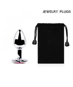 """Металлическая анальная пробка """"Jewelry Plug"""" Medium Silver 8 х 3,4 см"""