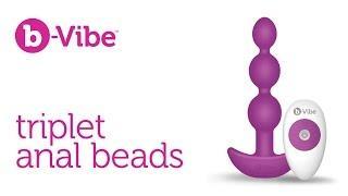 Анальные премиум-бусы с 2 моторами B-Vibe Triplet Anal Beads BLACK
